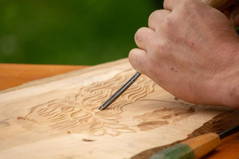 Traditional carpenter close up working hands with carpeting tools. royalty free stock photo