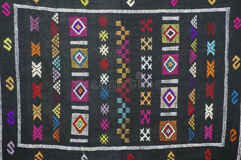 Traditional carpet pattern of Black Miao Hmong minority cloth, Sapa, Vietnam. stock photos