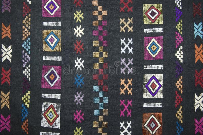 Traditional carpet pattern of Black Miao (Hmong) minority, Sapa, Vietnam. stock photo