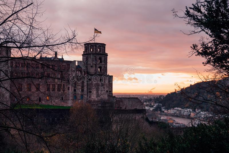Traditional castle View on the Heidelberg royalty free stock image