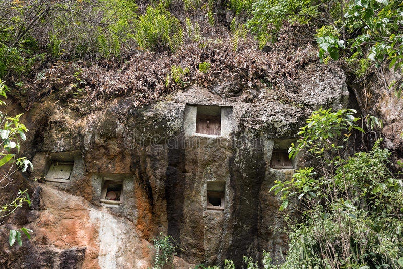 Traditional cave graves carved in the rock at Lemo. Tana Toraja, South Sulawesi, Indonesia royalty free stock photography