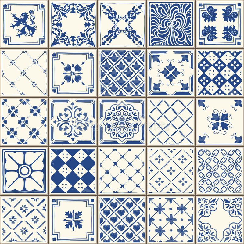 Traditional Ceramic 02 Vintage 2D. Indigo Blue Tiles Floor Ornament Collection. Gorgeous Seamless Patchwork Pattern from Colorful Traditional Painted Tin Glazed royalty free illustration