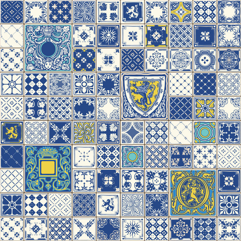 Traditional Ceramic 03 Vintage 2D. Indigo Blue Tiles Floor Ornament Collection. Gorgeous Seamless Patchwork Pattern from Colorful Traditional Painted Tin Glazed vector illustration
