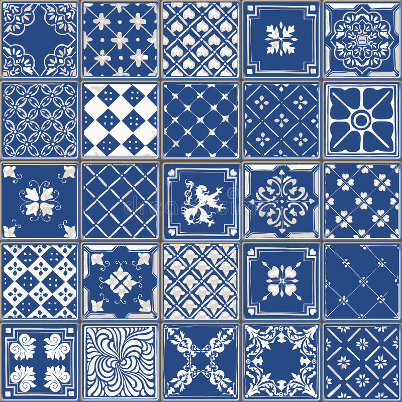 Traditional Ceramic 04 Vintage 2D. Indigo Blue Tiles Floor Ornament Collection. Gorgeous Seamless Patchwork Pattern from Colorful Traditional Painted Tin Glazed royalty free illustration