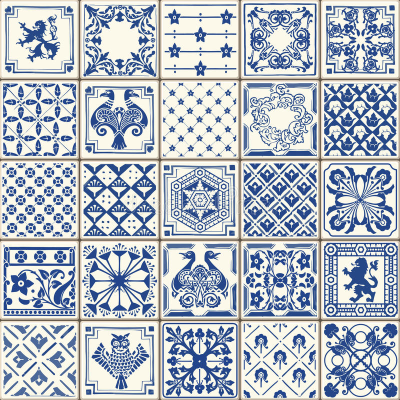 Traditional Ceramic 05 Vintage 2D. Indigo Blue Tiles Floor Ornament Collection. Gorgeous Seamless Patchwork Pattern from Colorful Traditional Painted Tin Glazed vector illustration