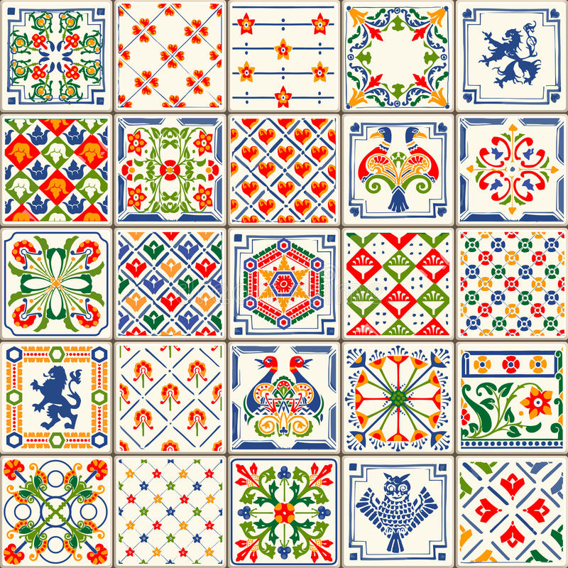 Traditional Ceramic 06 Vintage 2D. Indigo Blue Tiles Floor Ornament Collection. Gorgeous Seamless Patchwork Pattern from Colorful Traditional Painted Tin Glazed vector illustration