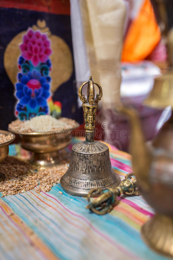 Traditional ceremonial bell and vajra in Buddhist temple in Nepal royalty free stock image