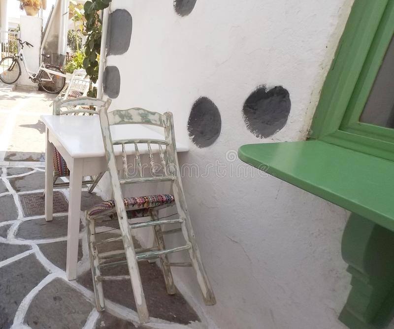 Traditional chair on Greek island Paros stock photography