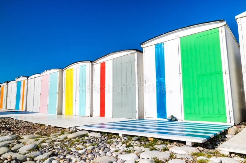 Traditional changing rooms on the beach. Le Havre stock photo