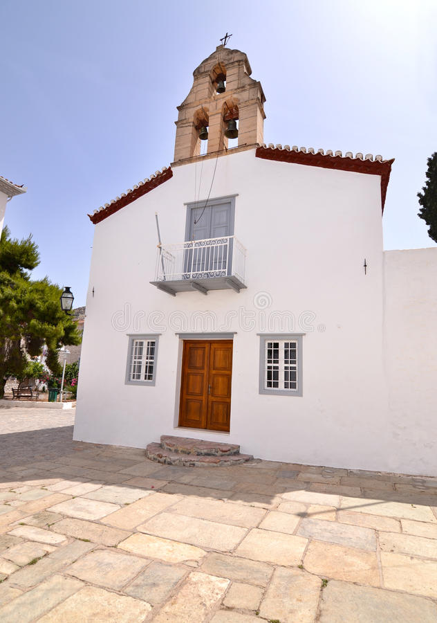 Traditional chapel at Hydra island Greece royalty free stock images