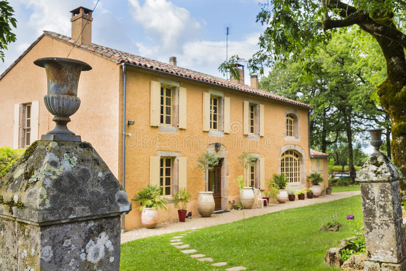 Traditional, charming, old stone house in the South of France stock images