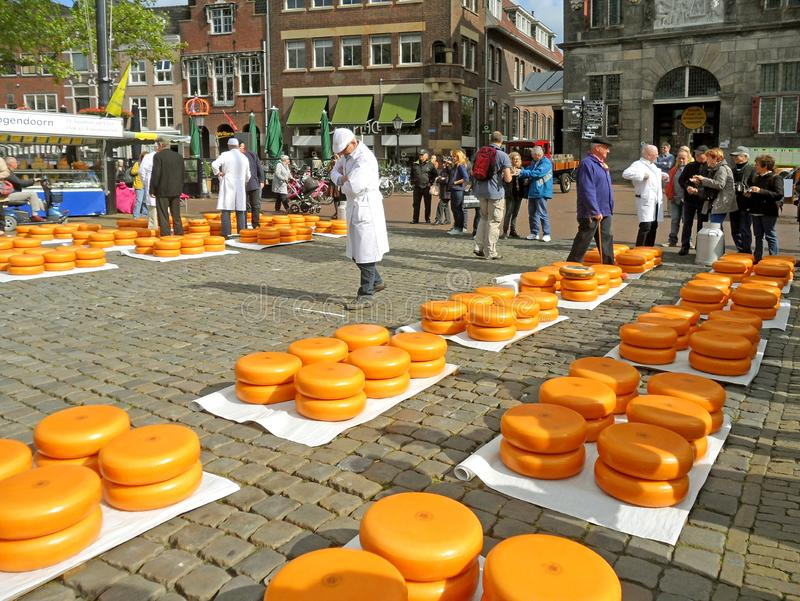 Traditional Cheese Trading at Gouda Cheese Market , The Netherlands stock photo