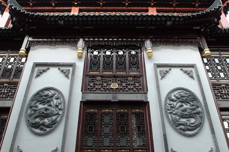 Traditional Chinese architecture. China, Shanghai city. Traditional, ancient Chinese architecture, made of wood. Pagoda in old town called YuYuan (Cheng Huang royalty free stock image