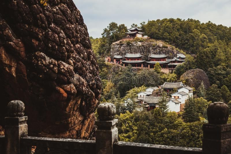 Traditional Chinese Buddhist temple on top of a mountain. stock images