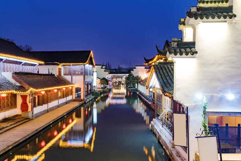 Traditional Chinese buildings at night stock photos