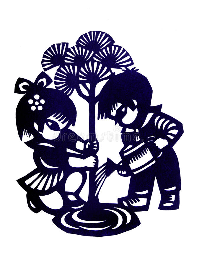 Traditional chinese children paper cutting. A photograph image of a beautiful design of a traditional retro style kids paper cut from China. This particular royalty free stock photo