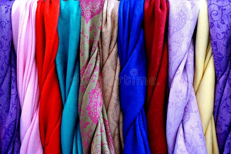 Traditional Chinese colourful cloth and silk royalty free stock photography