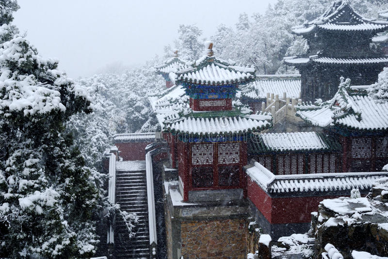 Traditional Chinese Courtyard in Snow stock photography