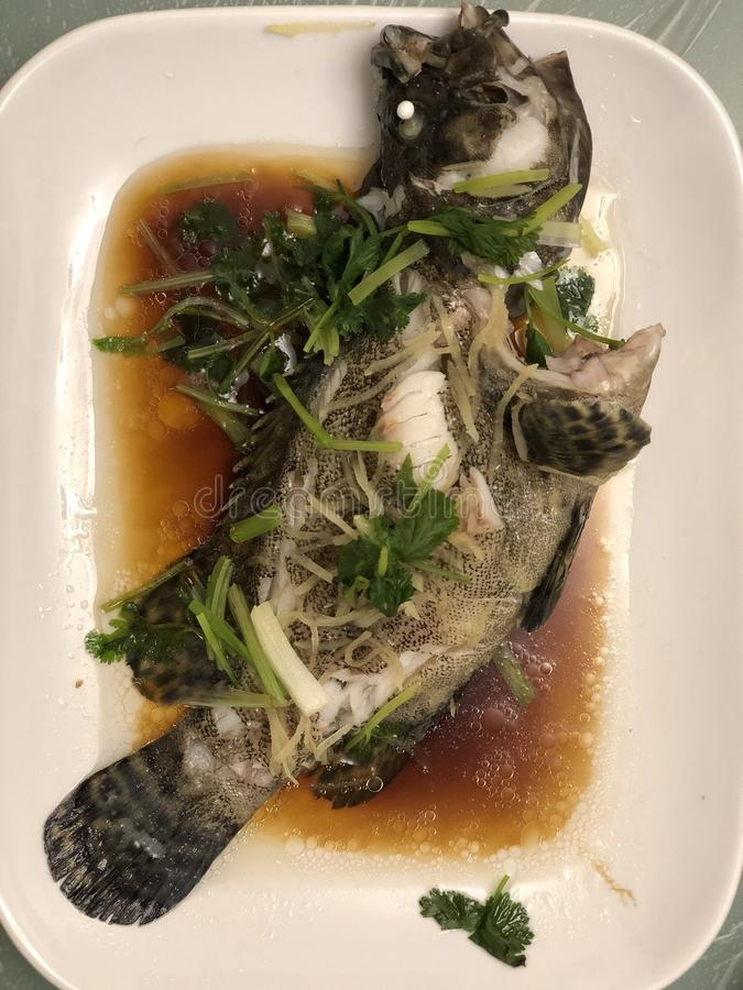 Traditional Chinese Dish of Steam Fish. It is very yummy. It is eaten with sauce stock image