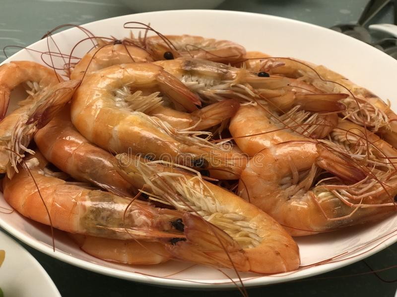 Traditional Chinese Dish of Steam Prawn royalty free stock image