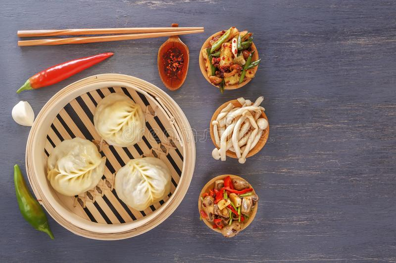 Traditional Chinese dishes - steam dumplings, hot salads, snacks Dam Sam. stock image