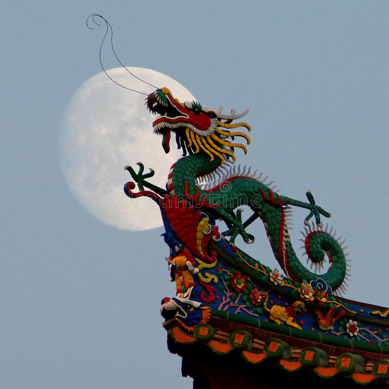 Full Moon Dragon: Chinese Dragon And Full Moon. Stock Image