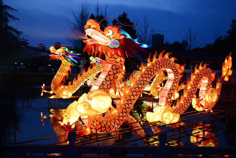 Traditional Chinese dragon lanterns. Traditional Chinese lanterns light up to celebrate the spring festival. Dragons are the most favourite symbols of Chinese stock photo
