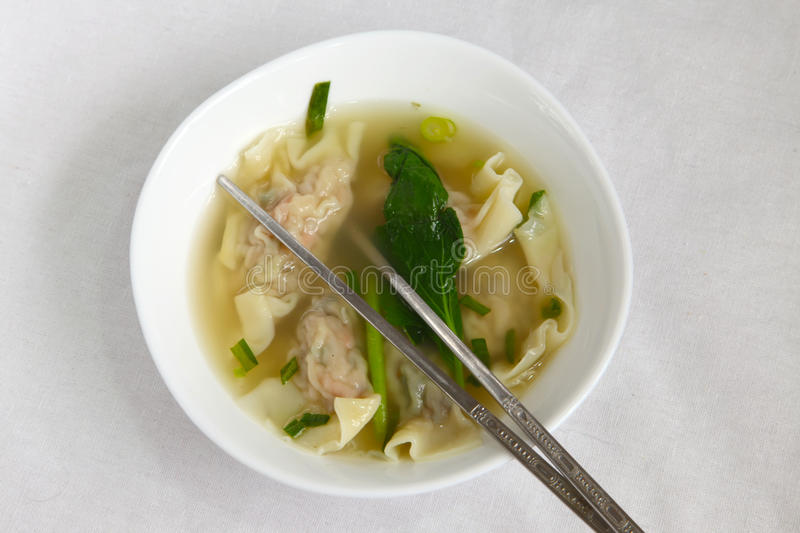 Traditional Chinese dumpling soup stock photos