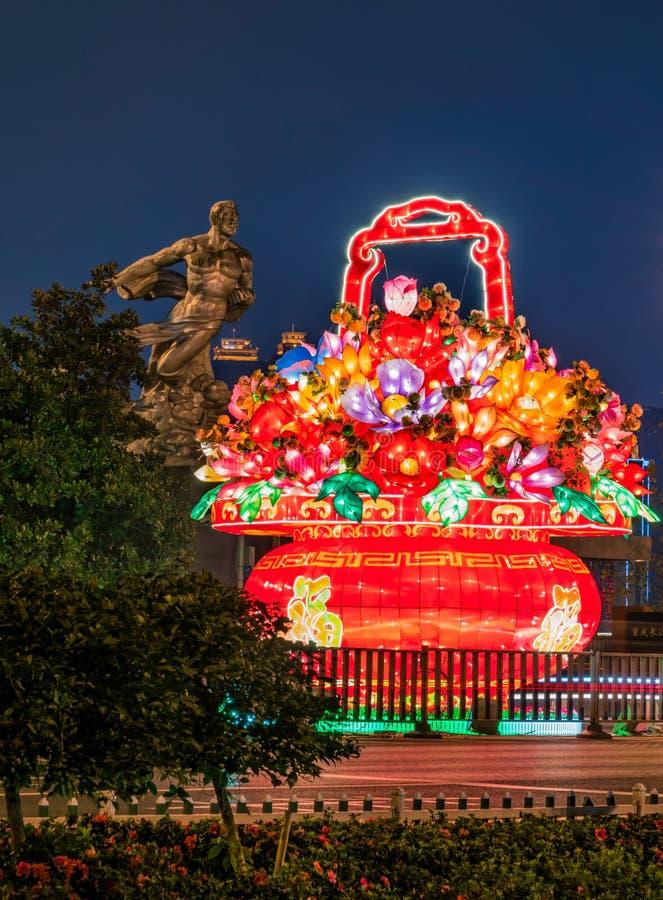 Free Traditional Chinese Flower Lantern Light Up Stock Image - 136372001