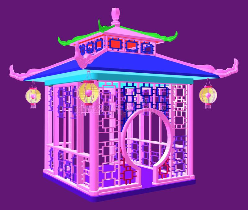 Pavilion In A Colorful Forest Stock Illustration