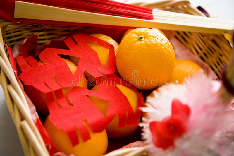 A Traditional Chinese Gift Basket Royalty Free Stock Image