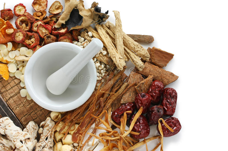 Traditional chinese herbal medicine. Ingredients of chinese food therapy royalty free stock photo
