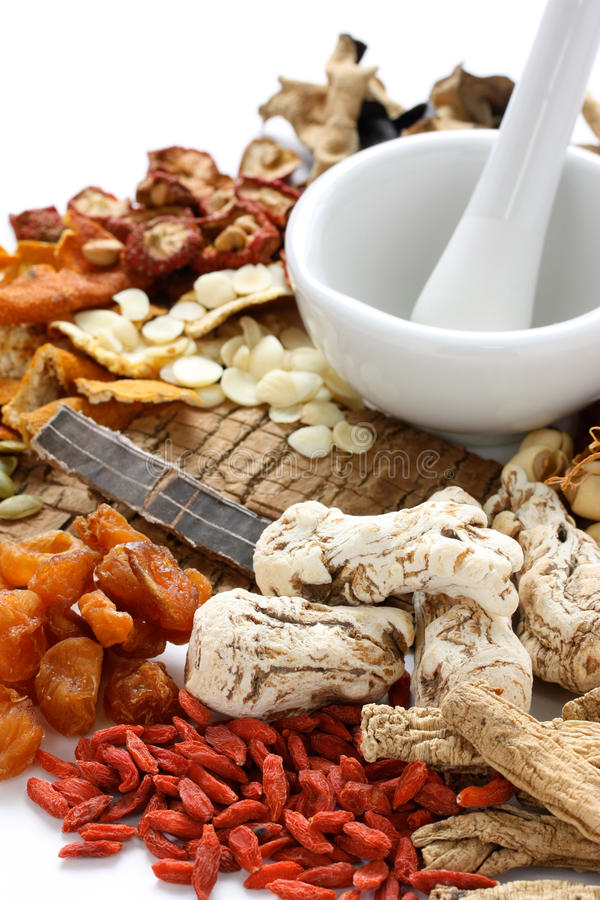 Traditional chinese herbal medicine. Ingredients of chinese food therapy stock image