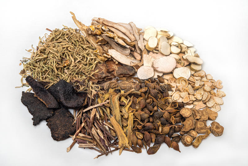 Traditional Chinese Herbal Medicine and Organic Herbs stock images