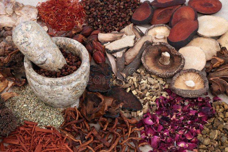 Traditional Chinese Herbal Medicine. Selection with mortar and pestle forming a background stock photo