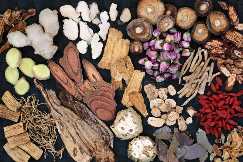 Traditional Chinese Herbs. Used in alternative herbal medicine forming a background. Top view royalty free stock photography