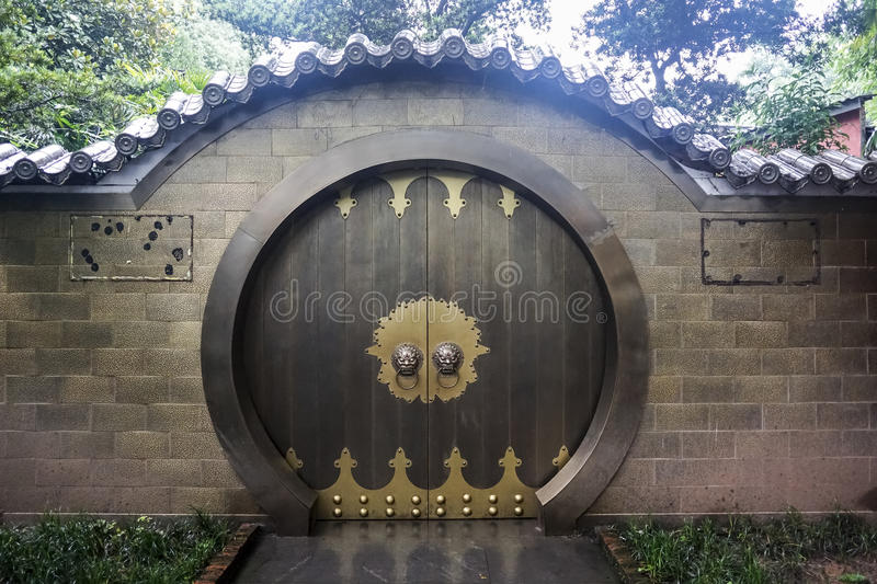 Traditional Chinese house door stock image
