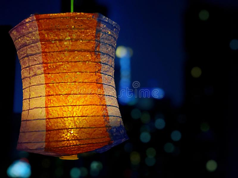 Traditional Chinese lantern in the silent night stock images