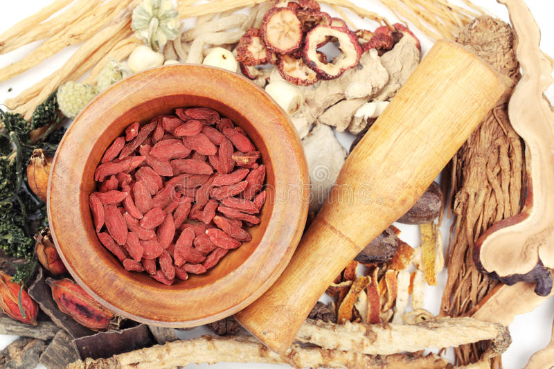Traditional Chinese Medicine. Tool with medicine royalty free stock photo