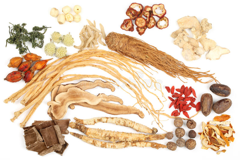 Traditional Chinese Medicine. On white background stock photography