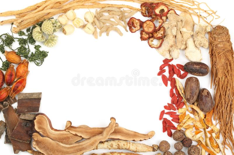 Traditional Chinese Medicine. On white background stock image