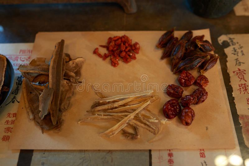 Traditional Chinese medicine. Various ingredient for traditional Chinese medical treatment royalty free stock photo