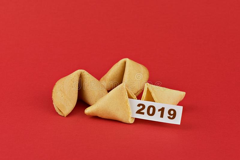 Traditional Chinese new year fortune cookies on red stock photography