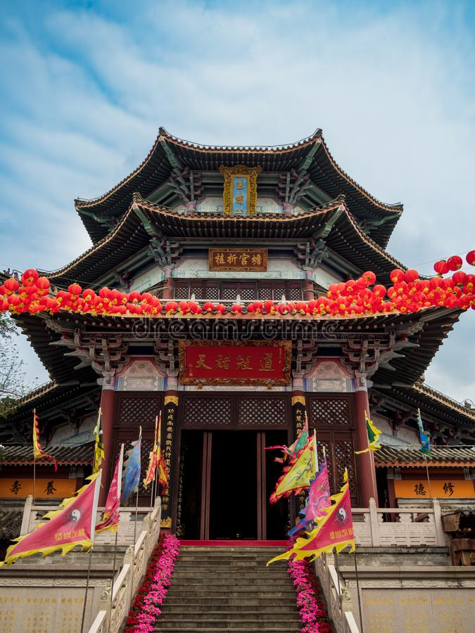 Traditional Chinese pagoda on the grounds of a Taoist temple in Hainan, China. Traditional Chinese pagoda built in the ancient Chinese classical architecture stock photos