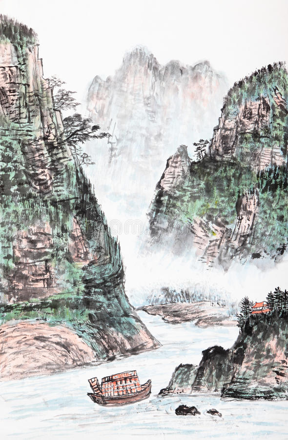 Traditional Chinese Painting , Landscape Stock Photography