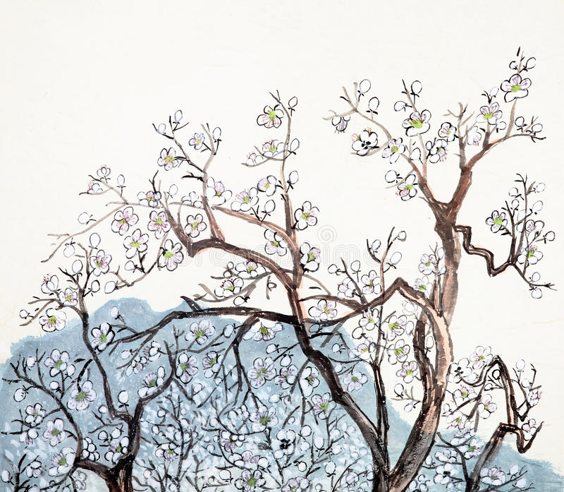 Traditional Chinese painting of plum blossom vector illustration