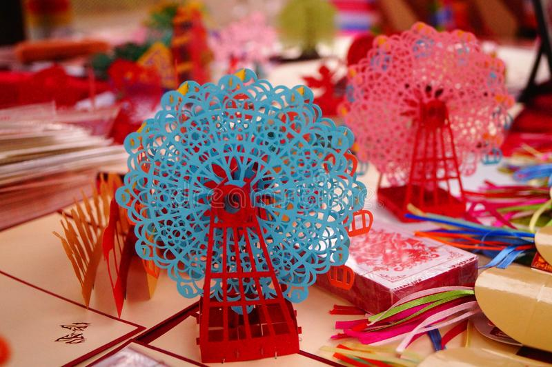 Traditional Chinese paper-cut works of Art stock photography