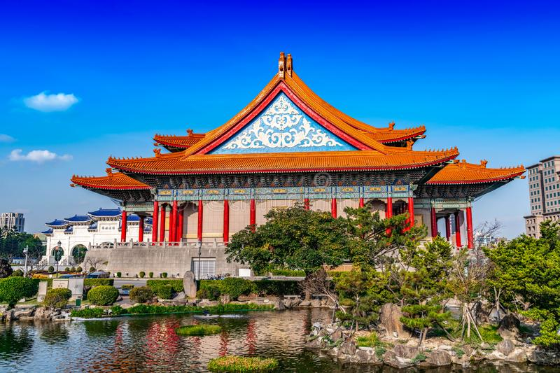 Traditional Chinese pavilion with nature in Taiwan.  stock photos