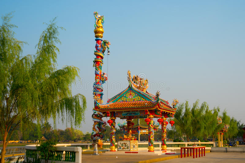 Traditional chinese pavilion with sunny day, Udon Thani, Thailand. Chinese pavilion at the lake. Udon Thani, Thailand royalty free stock photo