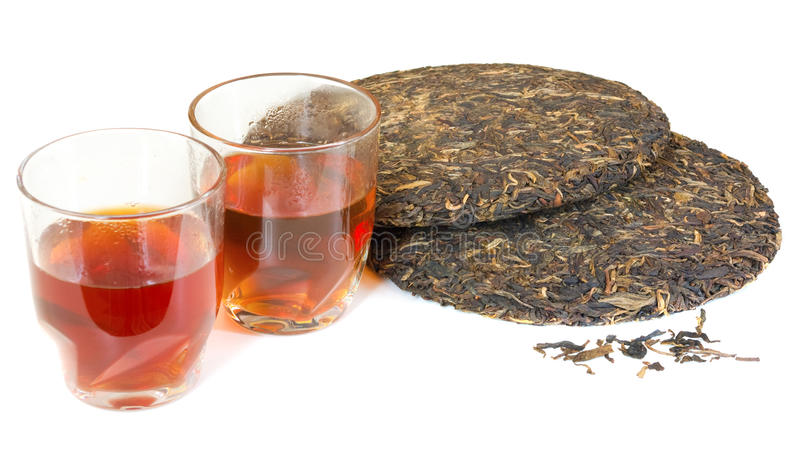 Traditional Chinese puer tea. Isolated on white background stock photos